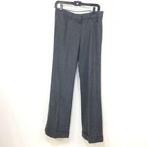 Theory wide leg cuffed wool trousers pants gray 8